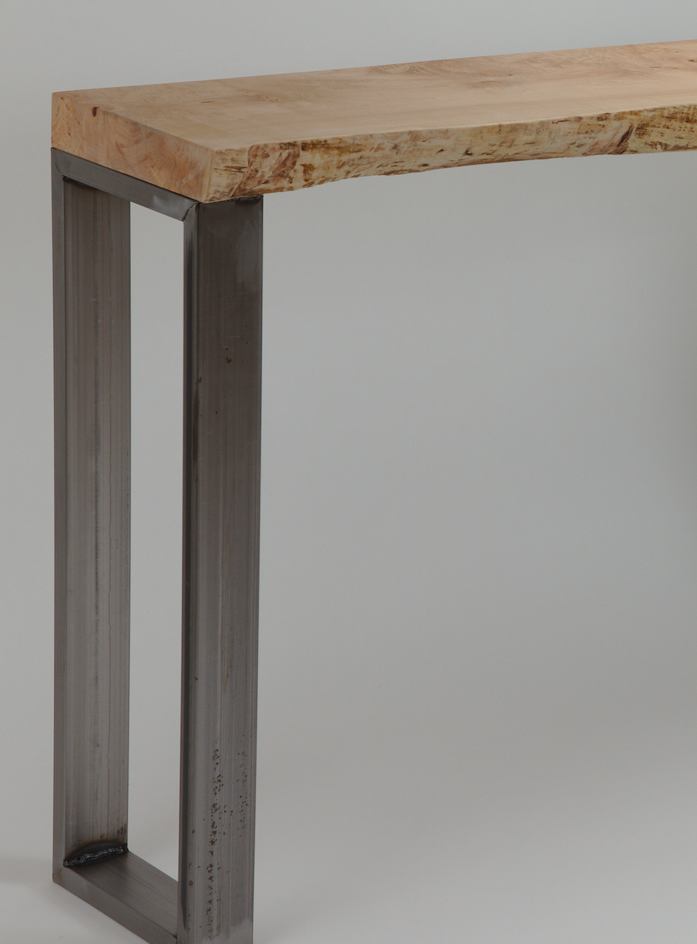 Live edge slab steel frame entry table console solid wood living room custom table