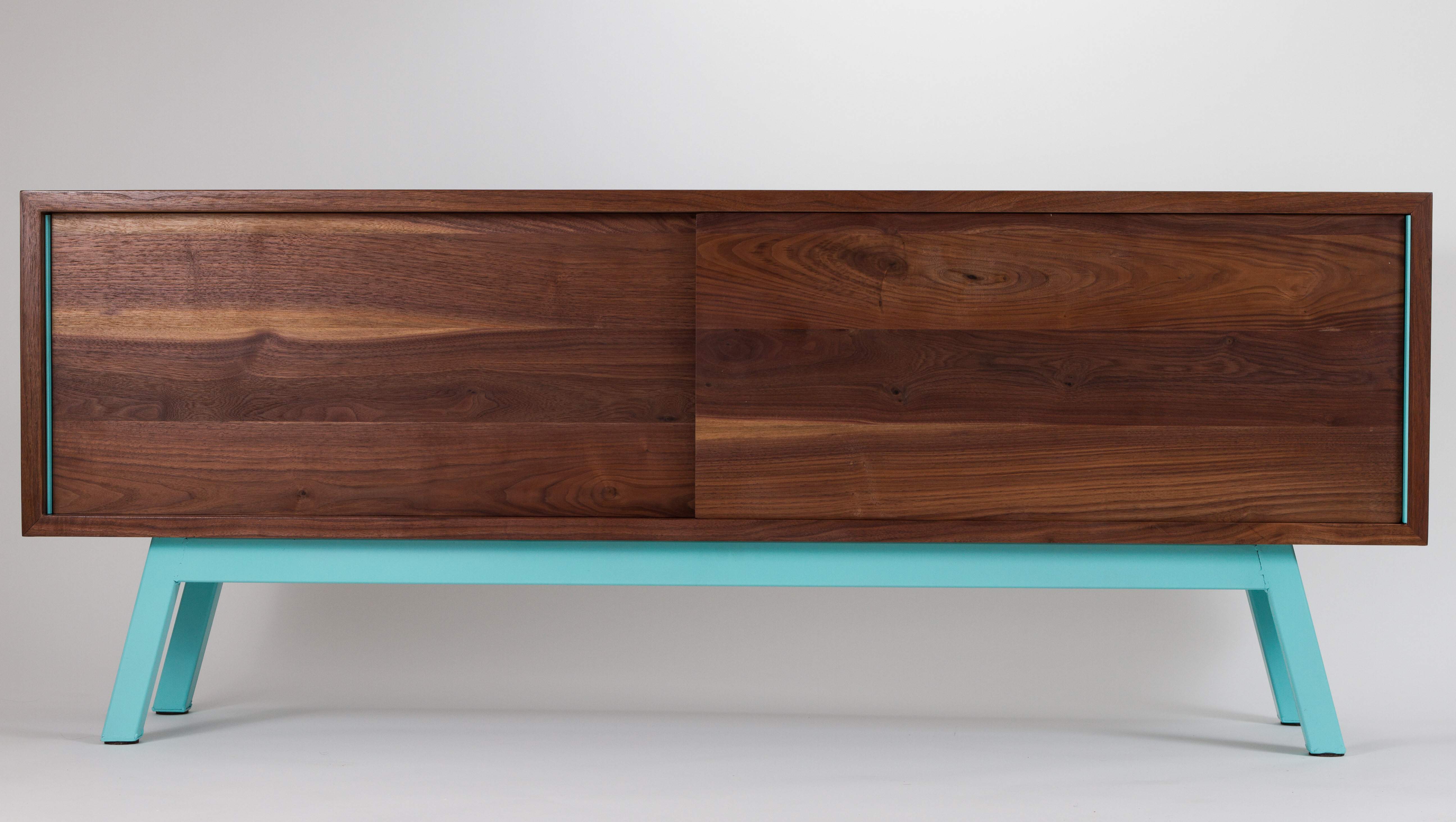 Solid Walnut Media Console Credenza Mid Century Modern Mcm Living Room