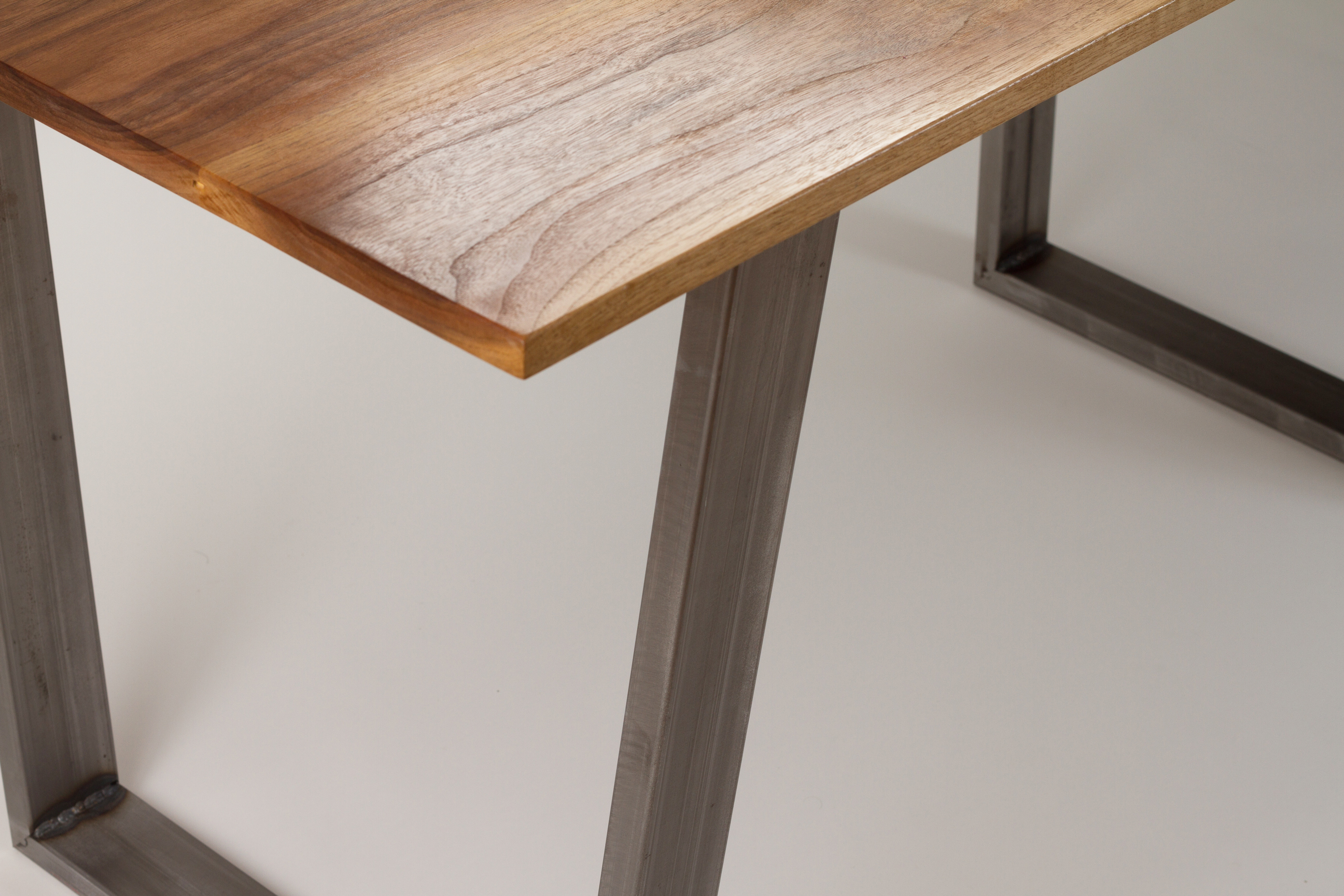 Modern Dining Table Solid Wood and Trapezoid Steel Legs ...