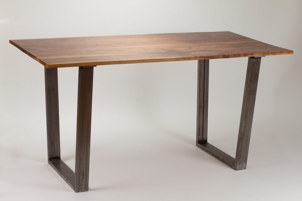 Modern Dining Table Solid Wood And Trapezoid Steel Legs