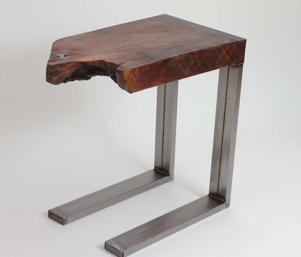 Live Edge Slab Steel Frame Sofa Table C