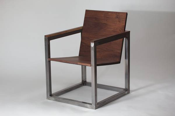 Strange Modern Cube Wood And Steel Industrial Accent Chair Machost Co Dining Chair Design Ideas Machostcouk